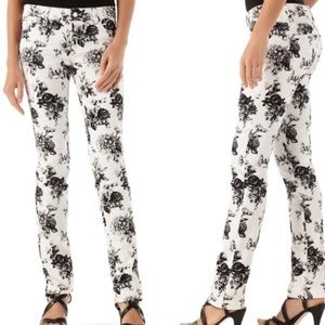 WHBM | White Jeans With Black & Gray Floral Design